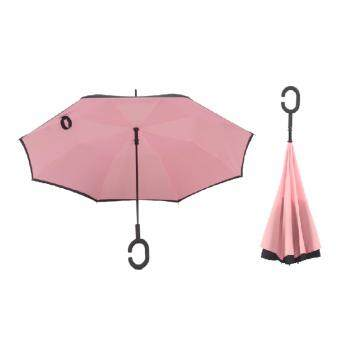 Harga 4CONNECT High Quality Unique Inverted Inside-Out Umbrella With C-Hook Handle - PINK