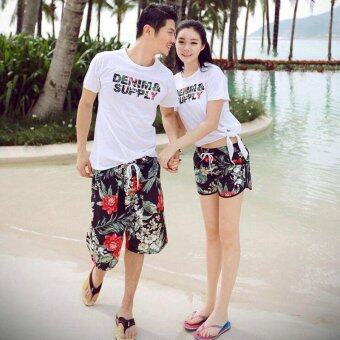 Harga Summer lovers beach suit new honeymoon couples shorts seaside beach flower pants quick drying shorts Women