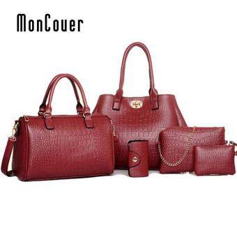 Harga MonCoeur A06 Elegant Faux Crocodile Leather Handbags Set of 5 (Wine Red)
