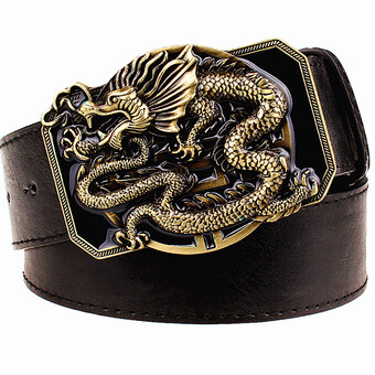 Harga Fashion men's belt flying dragon belt metal buckle belts golden dragon totem heavy metal style belt punk rock performance girdle