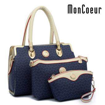 Harga MonCoeur B05 Set of 3 Latest Fashion PU Leather Handbag Pouch Cross Body Bag (Blue)