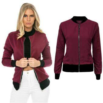 Harga Jo.In Women Fashion Retro Long Sleeve Zip Up Solid Bomber Jacket with Pockets