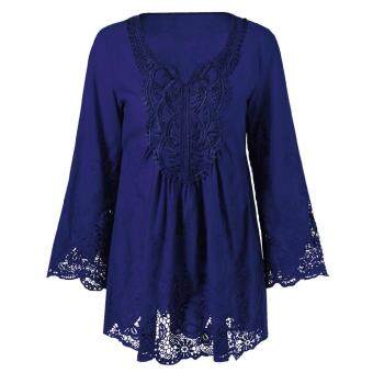 Harga Plus Size Lace Patchwork Peasant Blouse