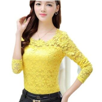 Harga New Women Fashion Lace Crochet Blouse Long-sleeved Lace Tops Plus Size M-5XL Yellow