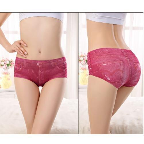 (Pre Order ETA 14/2) JYS Fashion : 3D Jeans Pattern Ice Silk Panties (Set of 3 Pieces) 98121pcs Jeans Red