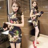 (Pre Order ETA 14/2) JYS Fashion : Cheongsam Midi Dress Collection 56 2453-Black Based Floral