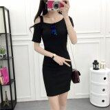 (Pre Order14 Days JYSFashion:Korea Style Off Shoulder Top and MidiDress Collection583460-Black