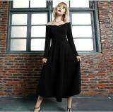 (Pre Order14 Days JYSFashion:Korea Style Off Shoulder Top and MidiDress Collection584249-Black