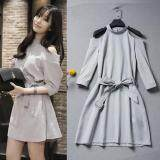 (Pre Order14 Days JYSFashion:Korea Style Off Shoulder Top and MidiDress Collection584273-Light Grey