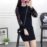 (Pre Order14 Days JYSFashion:Korea Style Off Shoulder Top and MidiDress Collection587449-Floral L-S Lace Black