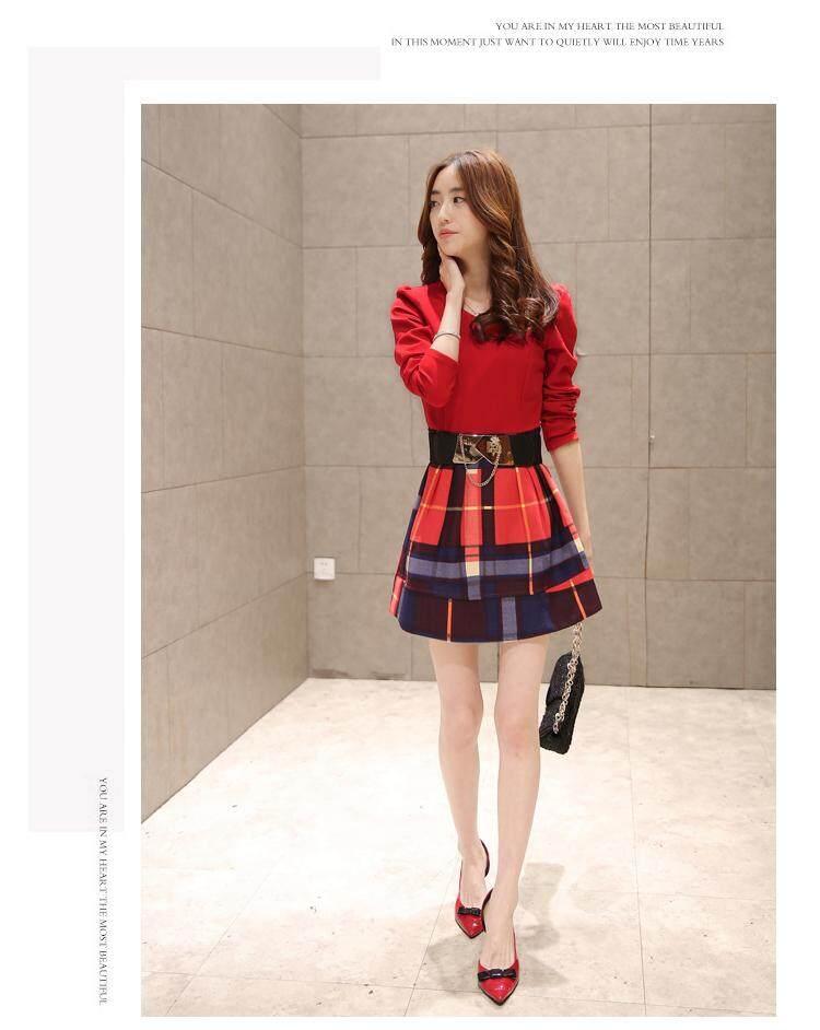 (Pre Order ETA 14/2) JYS Fashion : Korean Style Lace and Chiffon Midi Dress Collection 75 6015-Red 97P