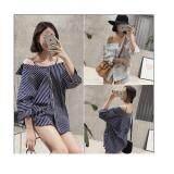 (Pre Order ETA 14/2) JYS Fashion: Korean Style Lace, Chiffon, Off Shoulder Top Collection 89  3120-Blue