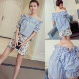 (Pre Order ETA 14/2) JYS Fashion: Korean Style Off Shoulder, Lace. Chiffon Top Collection 77   1176-Blue Stripe