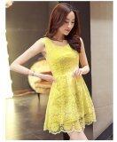 JYS Fashion: Premium Lace Organza Midi Dress Collection 10  H253-Yellow