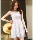 JYS Fashion: Premium Lace Organza Midi Dress Collection 10  H253-White