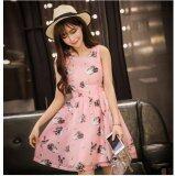 JYS Fashion: Premium Lace Organza Midi Dress Collection 10  311-Pink Swan Pattern