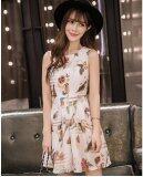 JYS Fashion: Premium Lace Organza Midi Dress Collection 10  291-Bird Floral Pattern