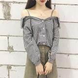 (Pre Order ETA 14/2) JYS Fashion:Korean Style (Chiffon, Lace, Off Shoulder) Top Collection 96  9069-Black Plaid
