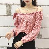 (Pre Order ETA 14/2) JYS Fashion:Korean Style (Chiffon, Lace, Off Shoulder) Top Collection 96  9069-Red Plaid