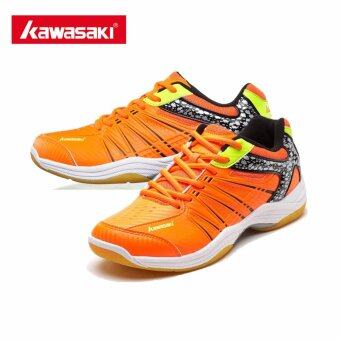 Harga Kawasaki Professional Badminton Shoes for Men Woman Sneakers Wear-resistant Breathable Sports Shoe K-061 (Orange)