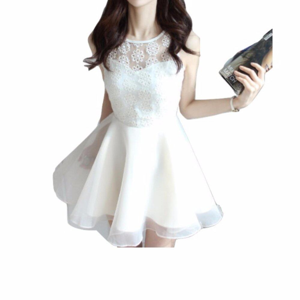 Korean Elegant Dress - WHITE