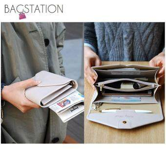 Harga Korean Fashion Faux Textured Leather Multipurpose Smart Phone Large Clutch (Beige)