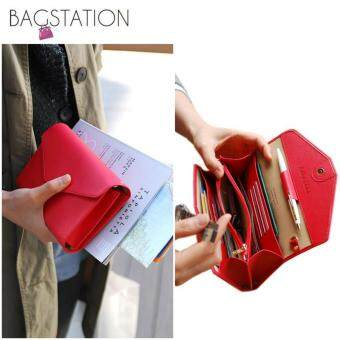 Harga Korean Fashion Faux Textured Leather Multipurpose Smart Phone Large Clutch (Red)