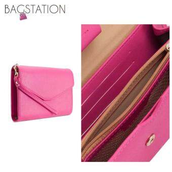 Harga Korean Fashion Faux Textured Leather Multipurpose Smart Phone Large Clutch (Rose Pink)