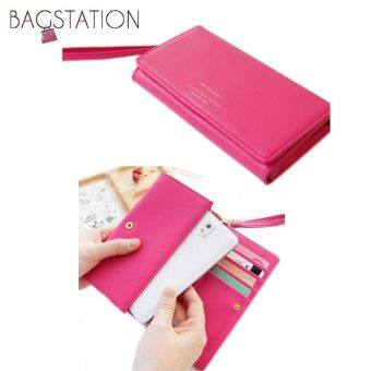 Harga Korean Fashion Iconic Faux Leather Multifunction Smart Phone Wallet/Pouch Rose Pink
