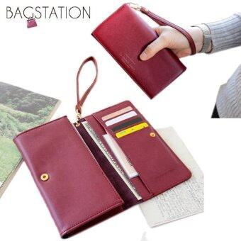 Harga Korean Fashion Iconic Faux Leather Multifunction Smart PhoneWallet/Pouch Maroon