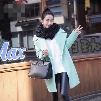 Harga Korean green female mid-length woolen coat (Mint Green)
