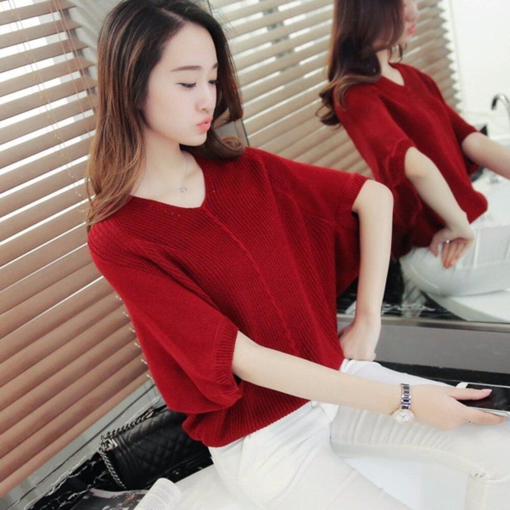 (Pre Order ETA 14/2) Korean Knit Top C113 - 430 - Wine Red