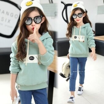 Harga Korean-style cotton hooded girls children's clothing (Green) (Green)