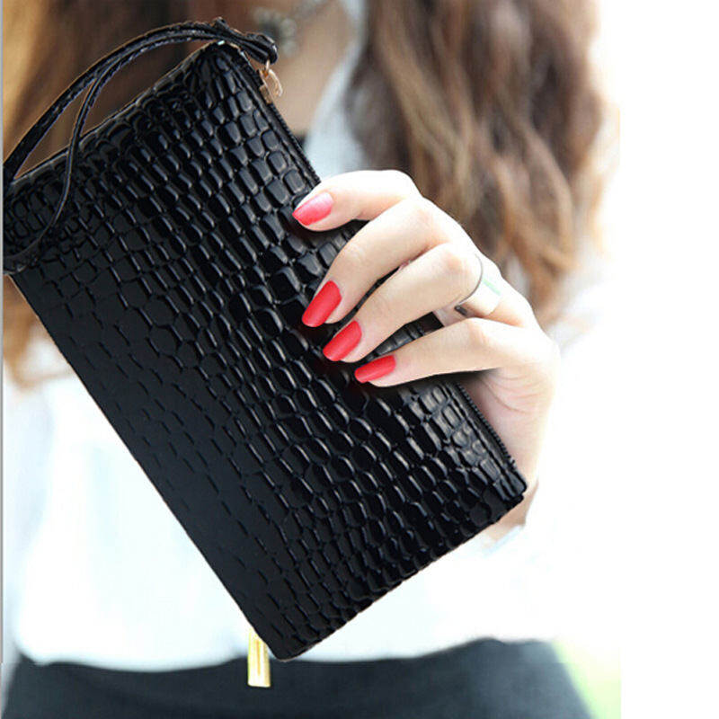 Korean Style PU Leather Mobile Phone Evening Wallet(Black)