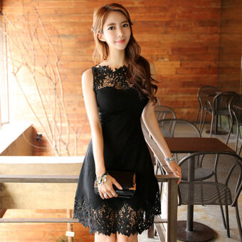 Harga Lace lace Slimming effect Slim fit high waist sleeveless dress