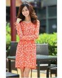 Long Sleeve Round Neck Stretchable Waist A Line Mini Dress