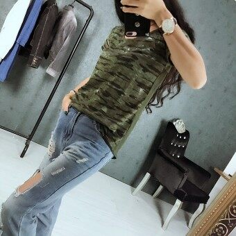 LOOESN Korean-style New style mid-length camouflage T-shirt