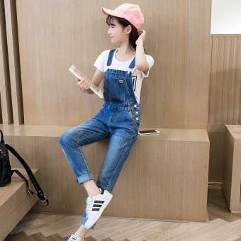 Loose Korean sheath casual denim dungarees denim jumper pants