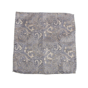MagiDeal Men's Peiris Pattern Pocket Square Hankie Hanky Handkerchief Gray and Gold