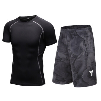 Male sports stretch compression basketball knee short-sleeved fitness clothes (Black short-sleeved + 8814 black)