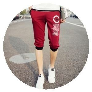 Male summer thin fitness pants Capri pants (DK46-5-wine red color)