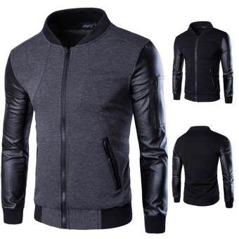 Features 2018 Mens Fashion Casual Leather Jacket High Quality Pu