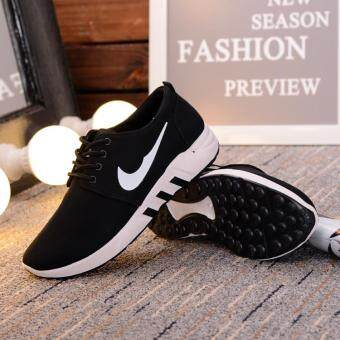Harga Men Woman Couples Casual Shoes Summer Tide Breathable Flying ShoesComfortable Wild Fashion Leisure Running Shoes Black