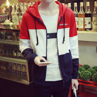 Harga Men zip hoodie hooded hoodie (Cap red) (Cap red)