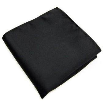 Men's Pocket Hanky Plain Color Wedding Party Square Hankerchief (Black)