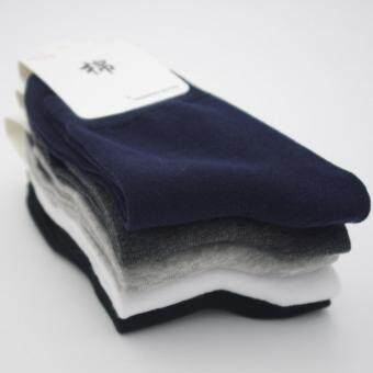 Harga Men's bussiness pure cotton pure color medium Sweat absorbing socks