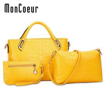 Harga MonCoeur A01 Set of 3 in 1 Luxury Faux Crocodile Leather HandBags(Aureolin Yellow)