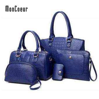 Harga MonCoeur C01 Set of 5 in 1 Luxury Faux Crocodile Leather HandBags(Sapphire Blue)