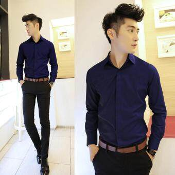 Features Moonar Fashion Men Casual Top Slim Fit Long Sleeves Office