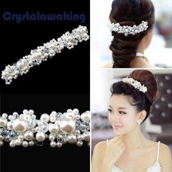New Crystal Faux Pearl Flower Party Bridal Headband Hair Band Tiara - Intl